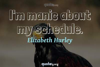 Photo Quote of I'm manic about my schedule.