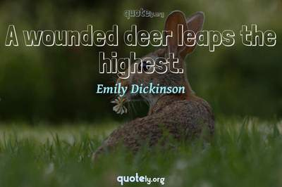 Photo Quote of A wounded deer leaps the highest.