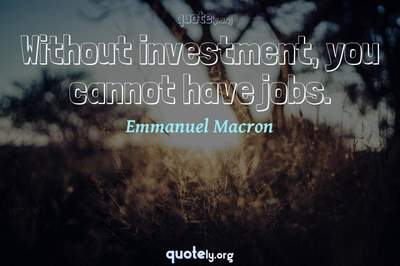 Photo Quote of Without investment, you cannot have jobs.