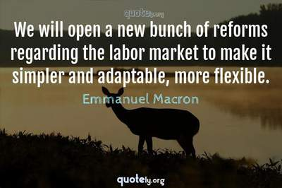Photo Quote of We will open a new bunch of reforms regarding the labor market to make it simpler and adaptable, more flexible.