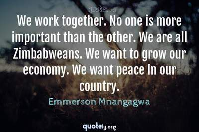 Photo Quote of We work together. No one is more important than the other. We are all Zimbabweans. We want to grow our economy. We want peace in our country.