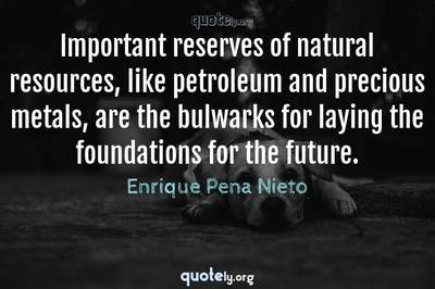 Photo Quote of Important reserves of natural resources, like petroleum and precious metals, are the bulwarks for laying the foundations for the future.