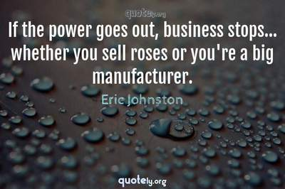 Photo Quote of If the power goes out, business stops... whether you sell roses or you're a big manufacturer.