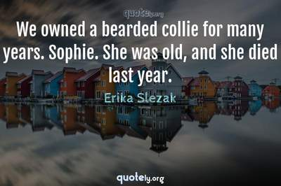 Photo Quote of We owned a bearded collie for many years. Sophie. She was old, and she died last year.