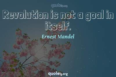 Photo Quote of Revolution is not a goal in itself.