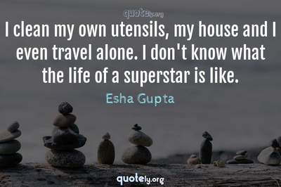 Photo Quote of I clean my own utensils, my house and I even travel alone. I don't know what the life of a superstar is like.