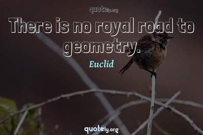 Photo Quote of There is no royal road to geometry.