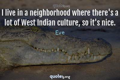Photo Quote of I live in a neighborhood where there's a lot of West Indian culture, so it's nice.