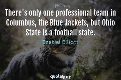 Photo Quote of There's only one professional team in Columbus, the Blue Jackets, but Ohio State is a football state.