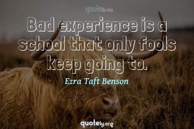 Photo Quote of Bad experience is a school that only fools keep going to.