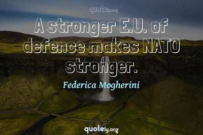 Photo Quote of A stronger E.U. of defence makes NATO stronger.