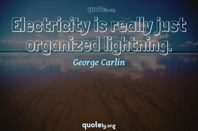 Photo Quote of Electricity is really just organized lightning.
