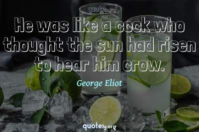 Photo Quote of He was like a cock who thought the sun had risen to hear him crow.