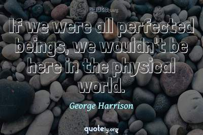 Photo Quote of If we were all perfected beings, we wouldn't be here in the physical world.