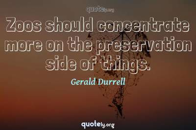 Photo Quote of Zoos should concentrate more on the preservation side of things.