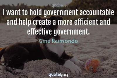 Photo Quote of I want to hold government accountable and help create a more efficient and effective government.