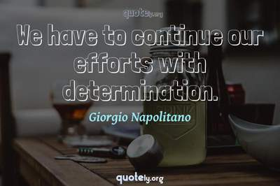 Photo Quote of We have to continue our efforts with determination.