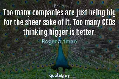 Photo Quote of Too many companies are just being big for the sheer sake of it. Too many CEOs thinking bigger is better.