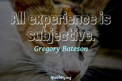Photo Quote of All experience is subjective.