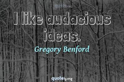 Photo Quote of I like audacious ideas.