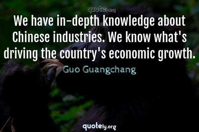 Photo Quote of We have in-depth knowledge about Chinese industries. We know what's driving the country's economic growth.