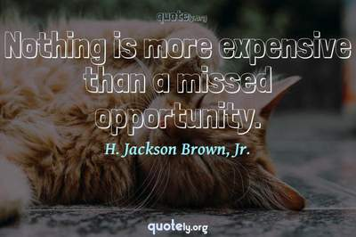 Photo Quote of Nothing is more expensive than a missed opportunity.