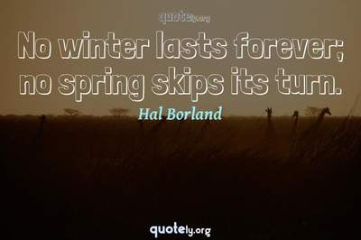 Photo Quote of No winter lasts forever; no spring skips its turn.
