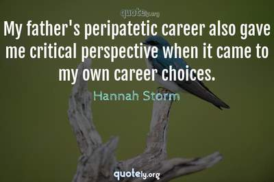 Photo Quote of My father's peripatetic career also gave me critical perspective when it came to my own career choices.