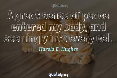 Photo Quote of A great sense of peace entered my body, and seemingly into every cell.