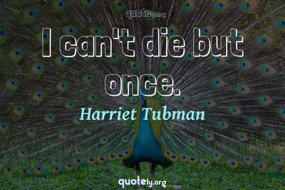 Photo Quote of I can't die but once.