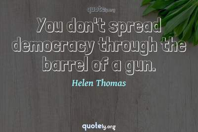 Photo Quote of You don't spread democracy through the barrel of a gun.