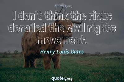 Photo Quote of I don't think the riots derailed the civil rights movement.