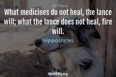 Photo Quote of What medicines do not heal, the lance will; what the lance does not heal, fire will.