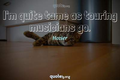 Photo Quote of I'm quite tame as touring musicians go.