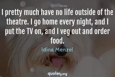 Photo Quote of I pretty much have no life outside of the theatre. I go home every night, and I put the TV on, and I veg out and order food.