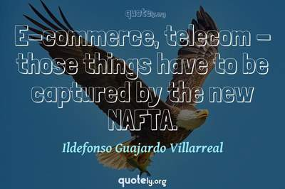 Photo Quote of E-commerce, telecom - those things have to be captured by the new NAFTA.