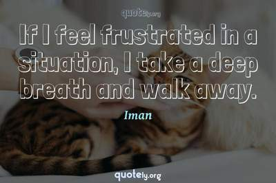 Photo Quote of If I feel frustrated in a situation, I take a deep breath and walk away.