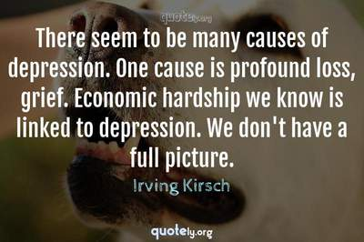 Photo Quote of There seem to be many causes of depression. One cause is profound loss, grief. Economic hardship we know is linked to depression. We don't have a full picture.