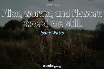 Photo Quote of Flies, worms, and flowers exceed me still.