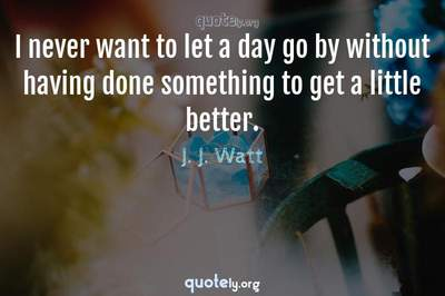 Photo Quote of I never want to let a day go by without having done something to get a little better.