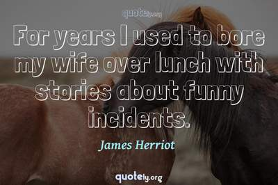 Photo Quote of For years I used to bore my wife over lunch with stories about funny incidents.
