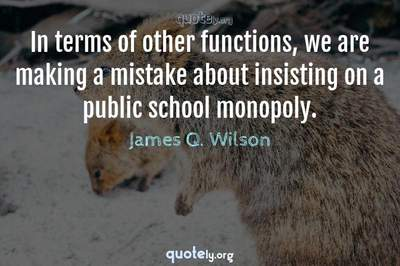 Photo Quote of In terms of other functions, we are making a mistake about insisting on a public school monopoly.