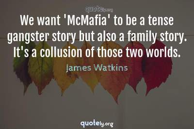 Photo Quote of We want 'McMafia' to be a tense gangster story but also a family story. It's a collusion of those two worlds.