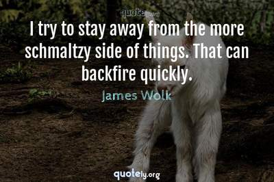 Photo Quote of I try to stay away from the more schmaltzy side of things. That can backfire quickly.