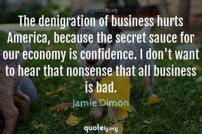 Photo Quote of The denigration of business hurts America, because the secret sauce for our economy is confidence. I don't want to hear that nonsense that all business is bad.