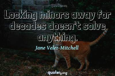 Photo Quote of Locking minors away for decades doesn't solve anything.