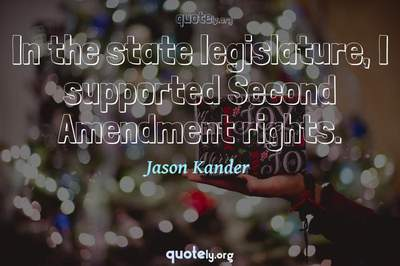 Photo Quote of In the state legislature, I supported Second Amendment rights.