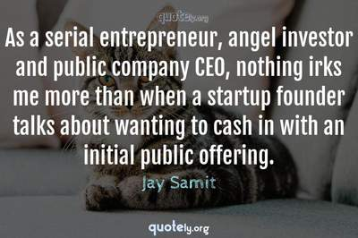 Photo Quote of As a serial entrepreneur, angel investor and public company CEO, nothing irks me more than when a startup founder talks about wanting to cash in with an initial public offering.
