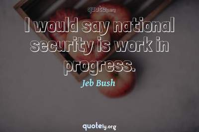Photo Quote of I would say national security is work in progress.