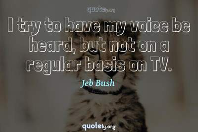 Photo Quote of I try to have my voice be heard, but not on a regular basis on TV.